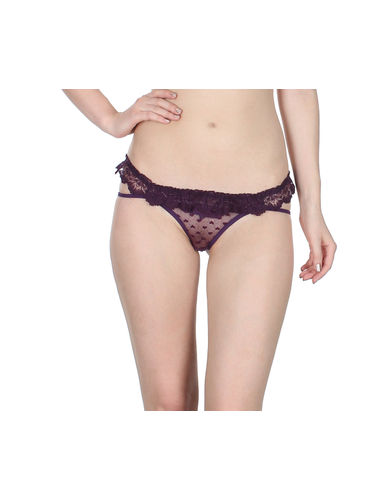 Purple Self Floral See through Net thong