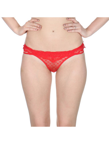 Red Self Floral See through Net thong