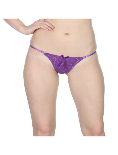 Purple Posy waist  Adjustable Stainless Micro G-String