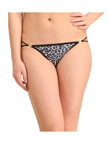 Animal print Golden Buckle thong , Color- Blue