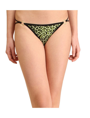 Animal print Golden Buckle thong , Color- Green