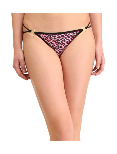 Animal print Golden Buckle thong , Color- Pink
