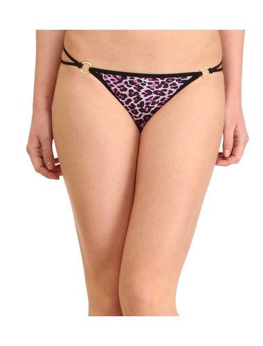 Animal print Golden Buckle thong , Color- Purple