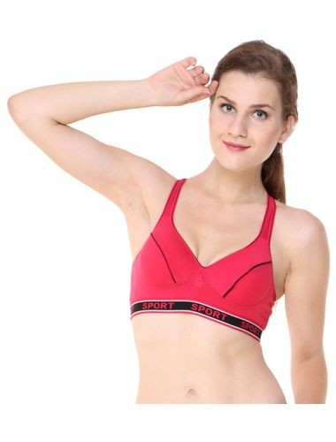 Glus Perfect Workout Sports Bra with Moulded Cupline, Color-Magenta