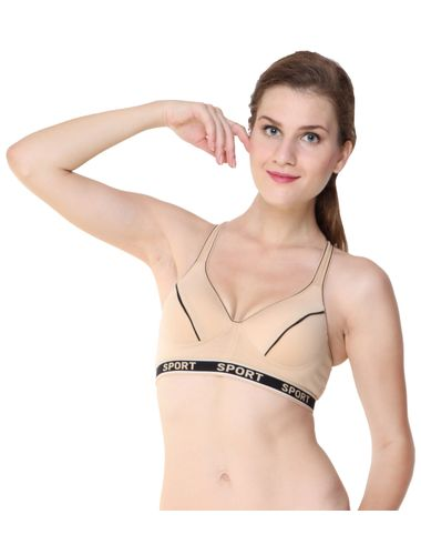 Glus Perfect Workout Sports Bra with Moulded Cupline, Color-Nude Skin