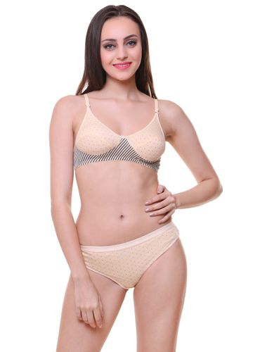 Glus Twin Polka Dotted Everyday Bra & Panty Set, Color- Nude.