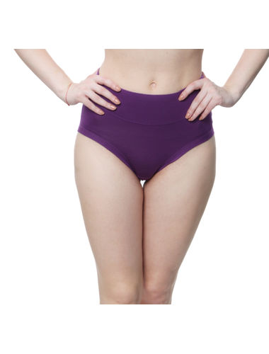Glus High waist Plus Size Bikini Cut Stainless Panty, Color- Purple