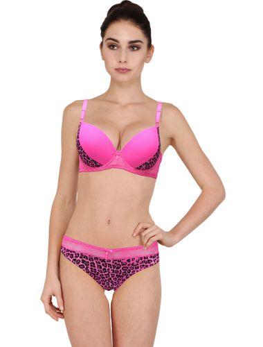 WILD Pattern Push Up Underwired Bra & Bikini Cut Panty set, Color-  PINK..