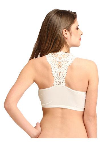 Off white Embroidered back padded Slip on Bralette