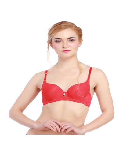 Glus Floral Delight Seamless  Padded Underwire Bra  , Color  -  Red