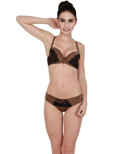 Brown SEXY TEE Soft Padded Non Pushup Designer lace Bra & STAINLESS Bikini Cut Panty Set
