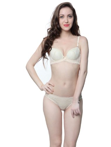 Glus Naughty Dots Transy Net Mesh Padded Underwired Bra & Bikini Set ,  Color - Nude Skin