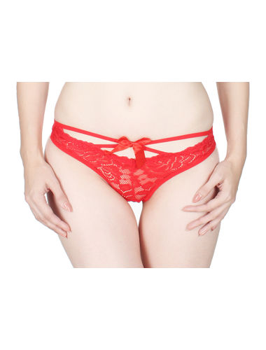 Glus Red Low waist Front  Cut See through Mesh  Thong