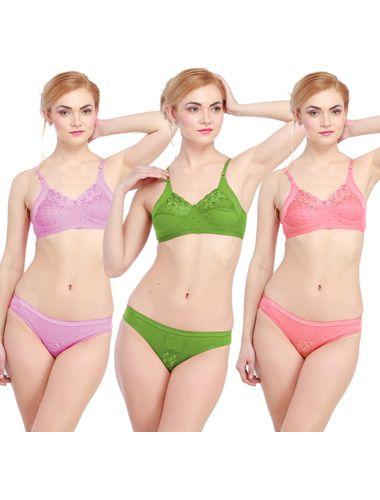 Glus Lady Care Bra And Bikini Set , (Pack Of 3).