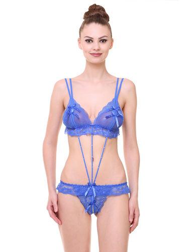 Glus Bridal Lusty Twist Teedy Dress / Baby Doll Night Wear, Color- Blue