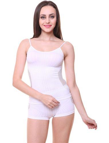 Sleek Camisole Slip & Seamless Boy Shorts Set, Color- White