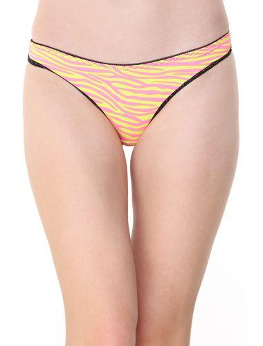 Glus Zebra Print Thong, Color- Yellow