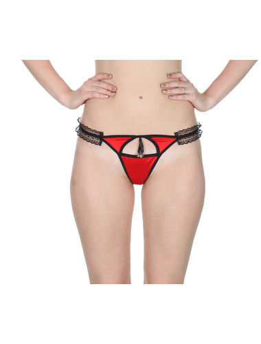 Red Sleek Front Cut G-String