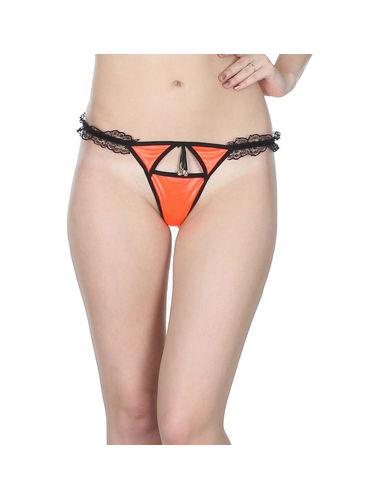 Sleek Orange Front Cut G-String