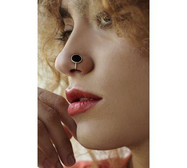 Benaazir|Black Enamelled Nose Pin/Clip