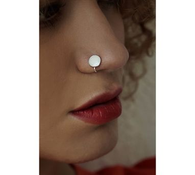 Benaazir|White Enamelled Nose Pin/Clip