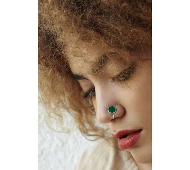 Benaazir|Green Enamelled Nose Pin/Clip