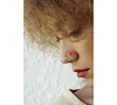 Benaazir|Orange Enamalled Nose Pin/Clip