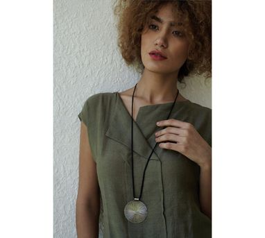 Benaazir|Textured Circular Pendant Necklace