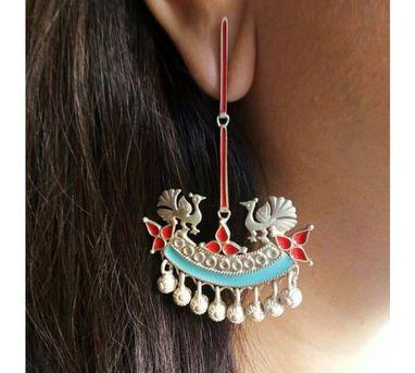 Devi Jaipur|Pink and Turquoise Peacock Enamel Earrings