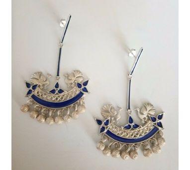 Devi Jaipur Blue Peacock Enamel Earrings