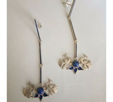 Devi Jaipur|Blue Peacock Enamel Earrings with Stone