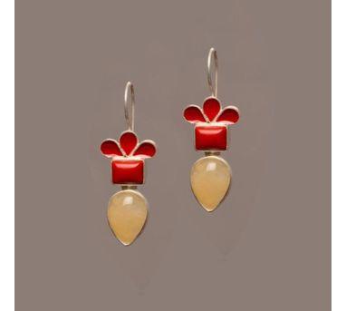 Devi Jaipur|Silver Coral Yellow Aventurine Enamel Earring