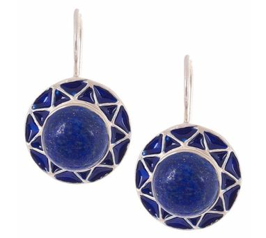 Devi Jaipur|Lapis Lazuli Silver Enamelled Earrings