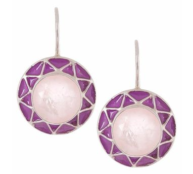 Devi Jaipur|Rose Quartz Silver Enamelled Earrings