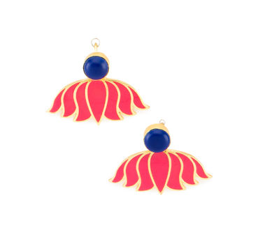 Eesha Zaveri | Enamel Lotus Drop Earrings