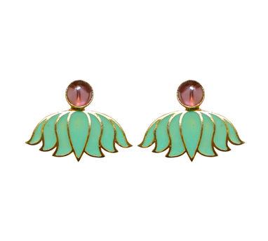 Eesha Zaveri | Enamel  Green Lotus Drop Earrings