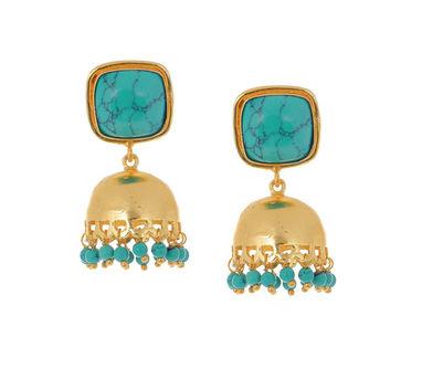 Eesha Zaveri | Turquoise Jhumkhi Earrings