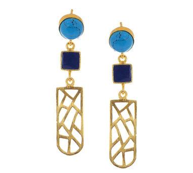 Eesha Zaveri | Turquoise Long Jali Earrings