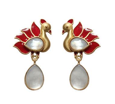 Eesha Zaveri | Mop Stone Peacock Drop Earrings