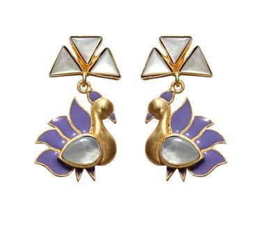 Eesha Zaveri | Mop Stone Trillion Peacock Earrings