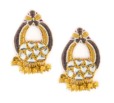 FOOLJHADI | Leafy Grey Mirror Earrings