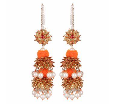 Fooljhadi|Gota Pom Pom Orange Earrings