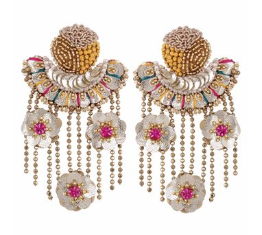 Fooljhadi|Crescent & Fringe Floral Earring