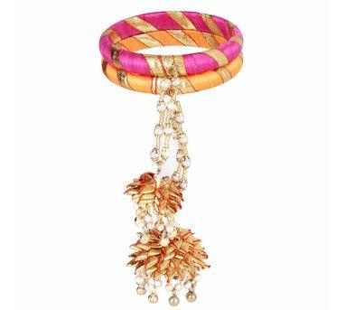 Fooljhadi|Pink & Orange Kalira Gota Bangle