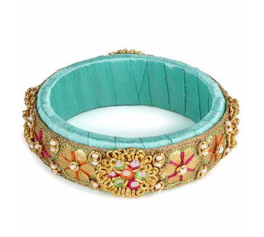 Fooljhadi|Mint Blue Gota Zari Bangle