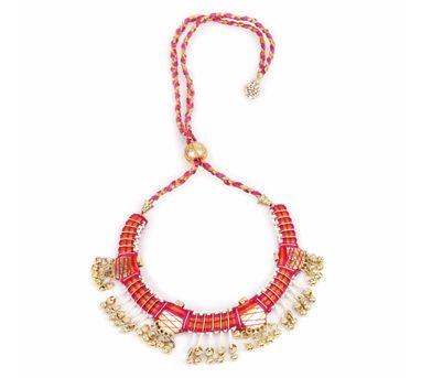 Fooljhadi|Pink Gota Coin Necklace