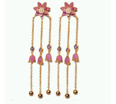 Golden Myrtle|Gold Floral Earrings