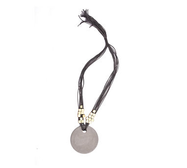 Grey Tone|Light Grey Single Disk and Gold Embelishments Necklace