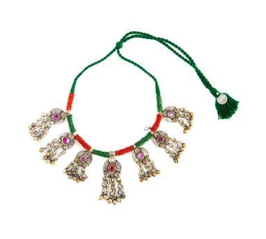 INDO CHINE | Nagma Green & Red Chunky Neckpiece