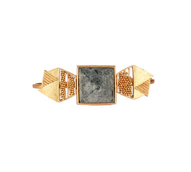 Itrana|Marble Intricate Weave Gold  Palm Cuff